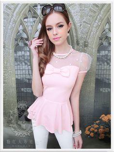 New Dolly Lolita Princess Sweet Cute LAce Bow Sexy Top TShirt Shirt S~XL Pink