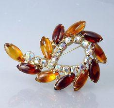 Vintage Amber Rhinestone Brooch 1950s Jewelry by jujubee1 on Etsy