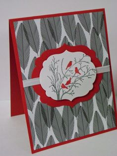 Great card made with Stampin Up's Serene silhouettes stamp, Labels framelits and Back to Black dsp.