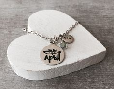 Miss April, April Birthday, April birthstone, April, Gifts for, Silver Necklace, Silver Jewelry, Charm Necklace, Teen, Birthday Gift, Quote by SAjolie, $22.75 USD
