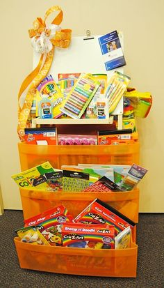 Cute drawer unit idea ~ could be used for family games, etc.,all the school or craft supplies in portable plastic 3 drawer storage cart! JCA of Jacksonville 2010 Bountiful Baskets Silent Auction Fundraiser Baskets, Raffle Baskets, Diy Gift Baskets, School Auction Baskets, Silent Auction Baskets, Craft Gifts, Diy Gifts, Craft Items, Theme Baskets