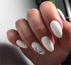 Amazing White Gel Nail Art Design Ideas Amazing White Gel Nail Art Design Ideas Professionally performed and how to shape nails coffin pattern on nails can be done not only with the help of brushes, but also with the help of dots. This manicure tool is White Gel Nails, Cute Acrylic Nails, Black White Nails, White Manicure, White Almond Nails, Nail Pink, Ombre Nail, Orange Nails, Black And White Nail Designs