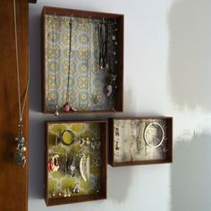 Cheap frames, fabric and cup hooks = instant jewellery storage
