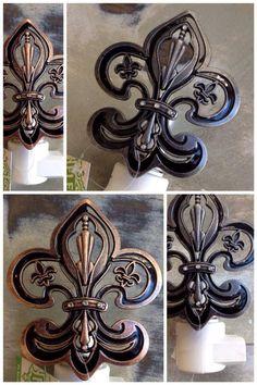 New Orleans Fleur de Lis Night Light, Copper or Charcoal, A Plus Gifts, Covington, LA