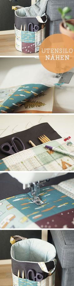 DIY instructions for a practical and large utensil / diy tutorial: sew you own utensilo via DaWanda. Sewing Hacks, Sewing Tutorials, Sewing Crafts, Sewing Tips, Sewing Projects For Beginners, Knitting For Beginners, Sewing Patterns Free, Free Sewing, Crochet Patterns