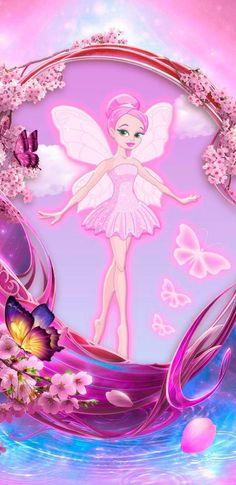 By Artist Unknown. Fairy Wallpaper, Pink Power, Baby Fairy, Cute Wallpapers, Phone Wallpapers, Wall Tapestry, Cute Girls, Aurora Sleeping Beauty, Girly