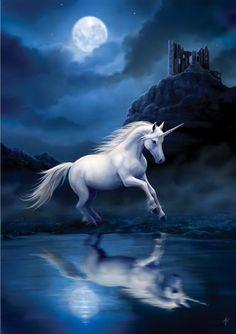 """Moonlight Unicorn"" blank card"