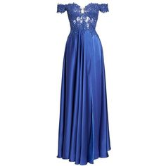 Women's La Femme Embroidered Off The Shoulder Satin A-Line Gown ($418) ❤ liked on Polyvore featuring dresses, gowns, dark periwinkle, floral embroidered gown, off-shoulder dresses, blue evening dresses, floral embroidery dress and blue evening gown