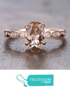 Oval Morganite Engagement Ring Pave Diamond Wedding 14K Rose Gold 6x8mm Art Deco from the Lord of Gem Rings https://www.amazon.com/dp/B01I02SXBW/ref=hnd_sw_r_pi_dp_uJ6Gxb6N6TRNV #handmadeatamazon
