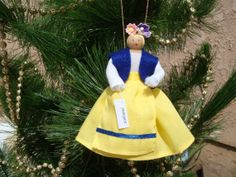 Sweden clothespin doll ORNAMENT - blue, white and yellow outfit - ready to ship Metal Spring, Clothespin Dolls, Blue Vests, Blue Ribbon, White Tops, My Mom, Teacher Gifts, Her Hair, Headpiece