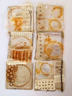 Julia Wright, rust dyed fabric collages by nikki How To Dye Fabric, Fabric Art, Fabric Crafts, Shibori, Textile Fiber Art, Textile Artists, Impression Textile, Motifs Textiles, Tea Bag Art