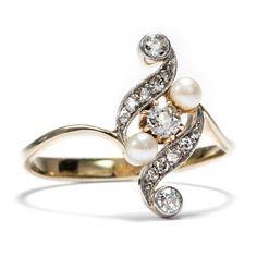Um 1910: Jugendstil Ring Naturperle & Diamanten 585 Gold Platin Diamant Perlen