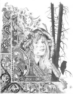 """Blodeuedd""  A Pencil drawing By Melissa Mary Duncan. A woman fashioned from Oak, Broom and Meadow Sweet flowers to be the wife of Lleu Llaw Gyffes. She is unfaithful and is turned into an owl for her treachery from the welsh cycle of Tales The Mabinogion"