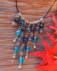 Glass Beads Bib Necklace Turquoise Blue Glass by LKArtChic on Etsy