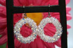 Summer Crystal Sparkling Beaded Hoop Earrings by createdbycarla