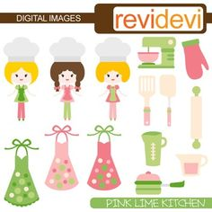 Pink Lime Kitchen Clip art. This digital clipart set features girl chef, aprons, and kitchen utensils. Great for cooking themed design projects.This cute digital clipart set is great for teachers and educators. The collection is suitable for school and classroom projects such as for bulletin board, learning printable, worksheet, classroom decor, craft materials, activities and games, and for more educational and fun projects.You will receive:- Each clipart saved separately in PNG format, 300…