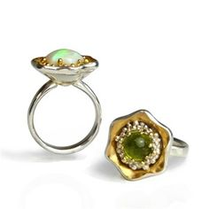 Opal and Peridot Flower Rings - Pamela Dickinson