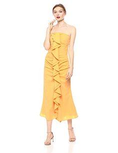 C/MEO COLLECTIVE Women's Sleeveless Ruffle Front Midi Dress Program Design, Designer Dresses, Ruffles, Bodycon Dress, Elegant, Shopping, Collection, Classy, Designer Gowns