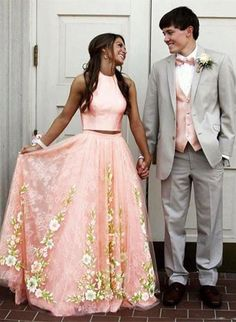 two piece prom dresses,floar prom dresses,unique prom dresses,pink prom dresses,2017 prom dresses