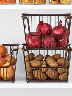 The humble wire basket gets a modern upgrade with these Bronze York Open Stack Baskets from The Container Store. Storing onions, potatoes, squash and more, these bulk bins also stack so you can maximize space inside the pantry. Pro pantry tip: Unlike this photo, keep your onions and potatoes away from each other because onion gasses can cause potatoes to sprout and spoil quicker.