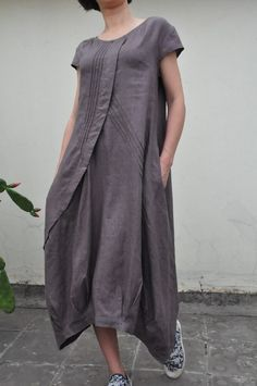 Flowers\' Language/Pleated Asymmetrical linen long dress/15 colors/ custom made. $69.00, via Etsy.