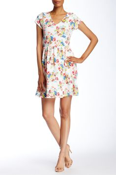 Short Sleeve Floral Print Fit & Flare Dress | Nordstrom Rack