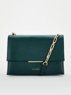 Ted Baker Ted Baker Diilila Bar Detail Crossbody Bag in Dark Green Ted Baker Outfit, Latest Fashion, Kids Fashion, Ted Baker Bag, Curvy Petite Fashion, High Leg Boots, Green Bag, Long Toes, Luxury Bags