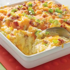 This mashed potato casserole is easy to make and so delicious as the potatoes are loaded with cheese, sour cream and bacon.
