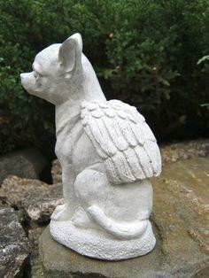Chihuahua Dog Angel - White Concrete Garden Statue