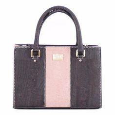 Cork Medium Handbag in Tawny Port and Pink with optional Crossbody Shoulder strap - Beyond Bags Ceramic Design, Line Design, Cork, Dust Bag, Shoulder Strap, Custom Design, Purses, Medium, Cotton
