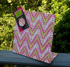 Trending Magnetic Board Fabric Memory Board - Fashion Chevron IKAT Pink and Pear - 7 x 7 Freestanding by rememorydesigns on Etsy