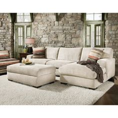 Microfiber Sectional Sofa Bed With Sleeper And Chaise Meadcream Color And Shag Rug And Triped Pillow Also Ottoman And Laminate Floor, Microfiber Sectional Sofa With Chaise For Amazing Living Room