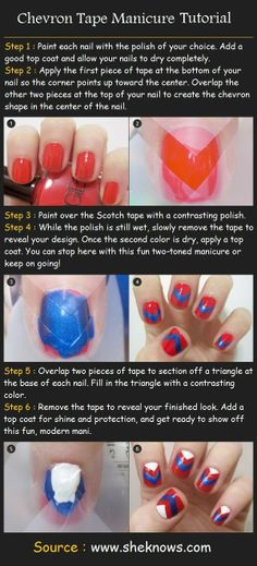 Take your school spirit up a notch - Ole Miss chevron manicure tutorial. #HottyToddy