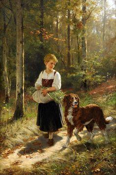Artist : Hubert Salentin (German, 1822 - Title : Girl in the forest . Mädchen im wald. Amazing Paintings, Classic Paintings, Old Paintings, Animal Paintings, Art And Illustration, Art Themes, Wildlife Art, Dog Art, Les Oeuvres