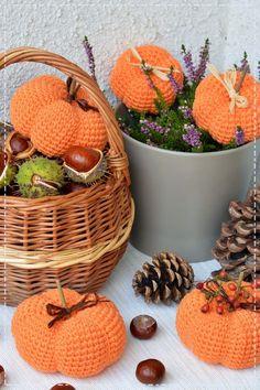 Krásné pondělí, milé motalinky, dneska vám přináším návod na háčkované dýně. Věřím, že návodů je všude dost, ale na mém blogu ještě... Wicker Baskets, Halloween Decorations, Picnic, Home Decor, Crochet Tutorials, Crocheting, Fall, Cactus, Homemade Home Decor