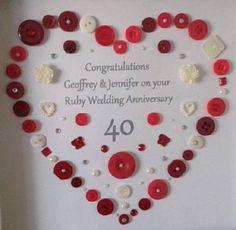 Creatief met knopen en knoopjes - knutseltips | knoopjes | knutselen | knopen | De Knutseljuf Ede Ruby Wedding Anniversary, Congratulations, Diy And Crafts, Calendar, Holiday Decor, Red