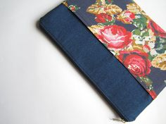 Denim roses MacBook 13 sleeve with zipper and pockets by CasesLab, $26.00