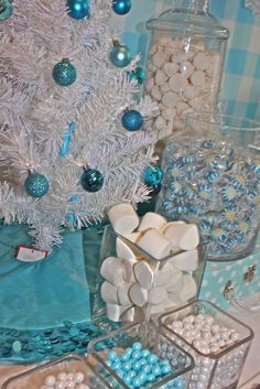 Pretty decor at a Winter Wonderland party!  See more party ideas at CatchMyParty.com!  #partyideas #winter