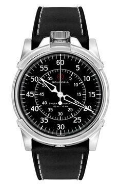 CT Scuderia '0-60' Automatic Leather Strap Watch, 44mm