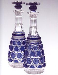 薩摩切子 藍色被栓付瓶