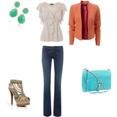 Simple outfit., created by varyanne-sika.pol...love the aqua bag