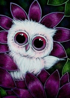 Cyra R. Cancel  | Art: TINY PINK OWL IN MY GARDEN by Artist Cyra R. Cancel #CyraCancelArt #Cyra #Art
