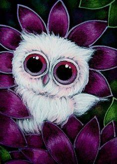 Cyra R. Cancel  | Art: TINY PINK OWL IN MY GARDEN by Artist Cyra R. Cancel #CyraCancelArt #Cyra #Art