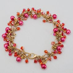 Gold Chain, Bright Pink Pearls and Red Crystal Gold Chain Bracelet. Recycled.  Eco Friendly.. $34.00, via Etsy.