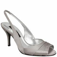 NINA FINN   A satin pleated open-toe slingback sandal, detailed with metallic piping  •Elasticized slingback  •Satin upper/metallic lining  •Imported    Shoe Width: M   Heel Height: 3.25