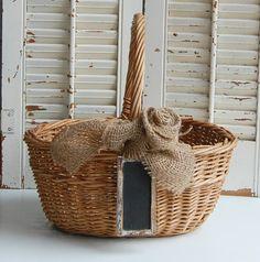 rustic farmhouse decor   Vintage Basket Rustic Wedding Farmhouse Decor by roseflower48