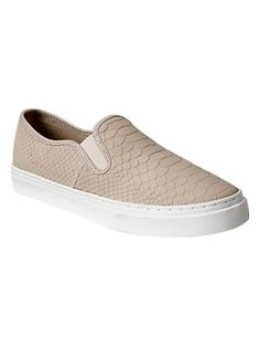 Snakeskin textured slip-on sneakers (9) in Margate sand $49.95 {fall 2014} RETURNED***These run wide.