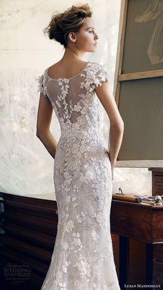 lusan mandongus 2017 bridal cap sleeves bateau neckline full embellishment elegant fit and flare wedding dress lace sheer back chapel train (leonids) zbv
