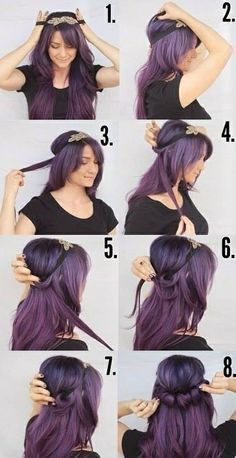 LOVE~LOVIN This Purple Ringlet Headband Hairstyle. I want to pull this hair color off so bad!!! ღ❤ღ