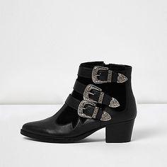 Zwarte leren western laarzen met bandje en gesp - laarzen - schoenen / laarzen - dames